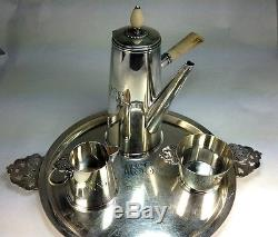 Vintage Mid Century Lusk Tiffany & Co. Sterling Silver Four Piece Coffee Set