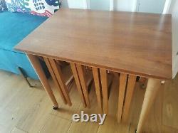 Vintage Mid Century Modern Poul Hundevad 5 Nesting Coffee Side Tables Set Teak