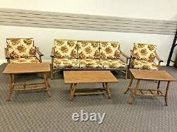 Vintage Mid Century Modern SOFA SET chair coffee table bamboo bentwood boho chic