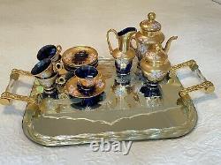 Vintage Murano Coffee Set, Venetian 24K Handpainted Enamel Blue Glass