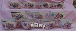 Vintage NYMPHENBURG Germany Hand Painted Bouquet 1012Z Gold SET Tea Coffee Cup