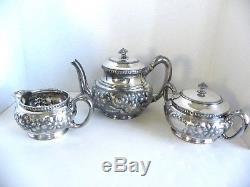 Vintage Ornate Repousse Reed & Barton Tea Coffee Set Creamer Sugar 3362 3 Pots