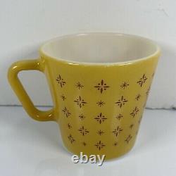 Vintage PYREX BUTTERSCOTCH 1410 FOULARD Coffee Cup Mug MCM Yellow Pair Set HTF