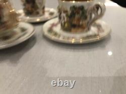 Vintage Porcelain Capo Di Monte Coffee Set. 9 Cups And Sauces