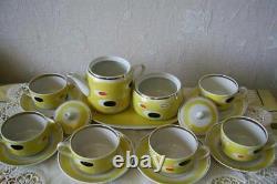 Vintage Porcelain Handmade Coffee Tea Home Kitchen Cups & Plates 8 Set USSR Mark