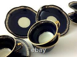 Vintage Porcelain Mocca Coffee Set Service Cobalt Blue Gilt Poland Chodziez 60's