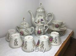 Vintage Porcelain Tea Coffee Set Floral Pattern with Gold Trim Japan
