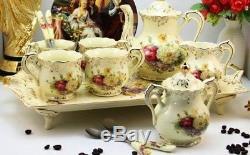 Vintage Porcelain Tea Set Ivory Coffee Set Red Gold Floral Design Cups Pot Gift
