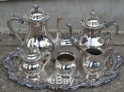Vintage R. S. Co 1875 Silver Plate Tea Coffee Set with Oneida Silver Plated Tray
