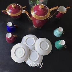 Vintage RGK Rudolf Kampf Czech 11 Piece Coffee Set Multicoloured Cups Gold Inlay