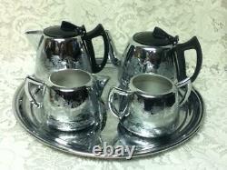 Vintage, Rare, England, Willoware, Swan Brand, 5-pc Chrome Coffee and Tea Set