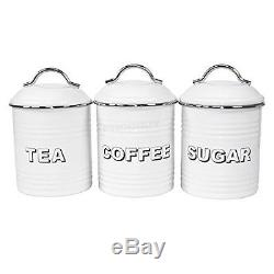 Vintage Retro Canister Set 3 Piece Sugar Tea Coffee Cream Storage Jars Lidded