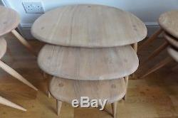 Vintage Retro MID Century Ercol Pebble Coffee Tables Set 2
