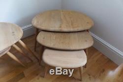 Vintage Retro MID Century Ercol Pebble Coffee Tables Set 3
