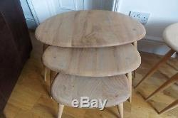Vintage Retro MID Century Ercol Pebble Nest Of Coffee Tables Set 1