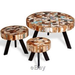 Vintage Round Coffee Table Set Of 3 Solid Reclaimed Wood Retro Style  Furniture