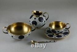 Vintage Russian Ussr Gilt Sterling Silver 916 Cloisonne Enamel Coffee Set