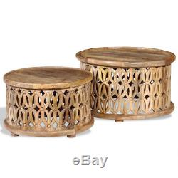 Vintage Rustic Coffee Table Ethnic Drum Shape Solid Wood Round Set Of 2 Man Made