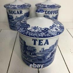 Vintage SPODE Blue & White'Blue Italian' TeaCoffeeSugar Canisters, Jars Set