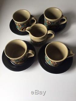 Vintage Sadler Tea Coffee Set Flower Power Mod Retro Rare 4 Cups Saucers Creamer