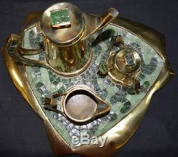 Vintage Salvador Mexican Brass 4 Pc Coffee Set