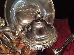 Vintage Set 1940s International Silver CAMILLE Coffee & Tea Pot Small Platter