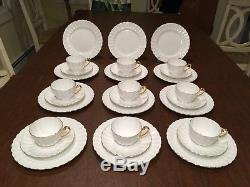 Vintage Set 30 Pcs SHELLEY Ludlow White Dessert Plates Coffee/Tea Cups & Saucers