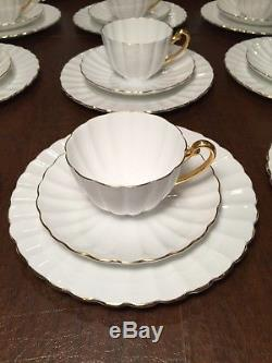 Vintage Set 30 Pcs Shelley Ludlow White Dessert Plates Coffee/tea Cups u0026 Saucers & Vintage Set 30 Pcs Shelley Ludlow White Dessert Plates Coffee/tea ...