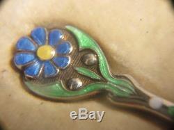 Vintage Set 6 Solid Silver & Enamel Coffee Spoons Turner & Simpson Birm 1928
