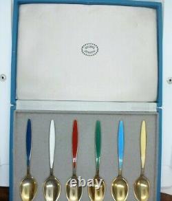 Vintage Set Georg Jensen silver gilt guilloche enamel coffee tea spoons. Boxed