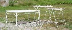 Vintage Set Wrought Iron & Wire Mesh Metal Nesting Tables & Coffee Table Patio
