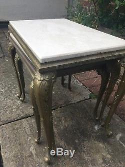 Vintage Set of 3 Marble & Brass Coffee Side Tables Beautiful French Nest Table