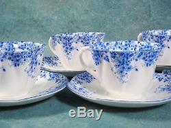 Vintage Shelley Dainty Blue Tea Coffee Set Sugar Cups White Blue Bone China