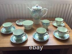 Vintage Shelley Melody coffee set. 1 cup missing, jug repaired, crack on 1 cup