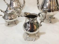 Vintage Silver Plate Baroque By Wallace Coffee Tea Service Set Coffee Tea Sugar
