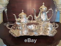 Vintage Silver Tea Coffee Service Set-silver overlay on Porcelain Germany