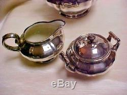 Vintage Sterling silver Clad Rosenthal Coffee pot Sugar Creamer Set 1950's Era