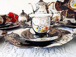 Vintage Tea/Coffee set Thun M. Z 24 ct Gold with Cobalt Czech Porcelain