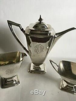 Vintage Towle Mary Chilton Sterling Demi Tea Coffee Set Of Three C1920s Sold B