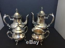 Vintage Towle Silver Plated 5 pieces Coffee Tea Service Set With Tray Great Cond