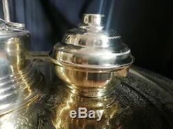 Vintage Tray Coffee Set Islamic Copper HANDMADE Middle Eastern Arabic 3 Cups
