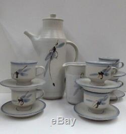 Vintage VIC Greenaway Australian Pottery Coffee Set Pot, 6 Cups Saucers Jug