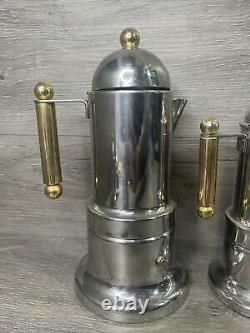 Vintage Vev Vigano Italian Espresso Coffee Maker Pot Stove Top Italy Set Of 5