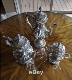 Vintage WM Rogers 217 Silverplate on Copper Tea Coffee Set