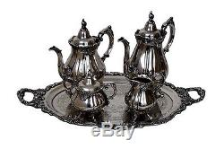 Vintage Wallace Baroque Silverplate 5 pc Coffee/Tea set with tray