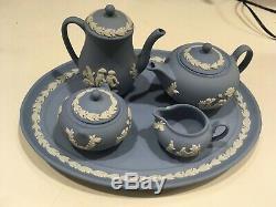 Vintage Wedgwood Jasperware Pale Blue 8 piece Miniature Tea Coffee Set NICE