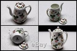 Vintage Wedgwood Miniature Tea & Coffee Set Bone China Wild Strawberry