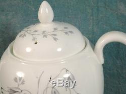 Vintage Wedgwood Wild Oats W4166 Coffee tea set Pot sugar Gray Platinum Silver