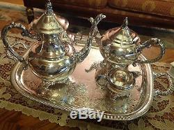 Vintage Wm. A. Rogers Silver Plated Coffee Tea Sugar Cream And Tray Serving Set