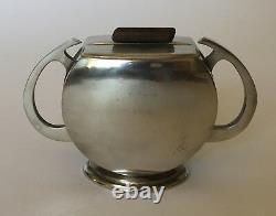 Vintage Zeister Art Deco Modern Pewter Tea Set Teapot Coffee Sugar-from Holland